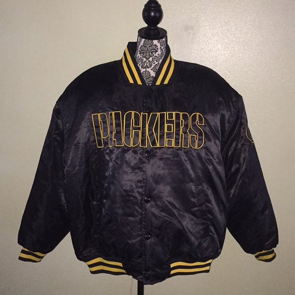 100% authentic 704a4 95a9b Green Bay Packers Throwback Satin Jacket Black XXL